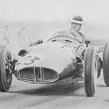Mike Hawthorn Drawing by Simon Taylor