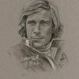 James Hunt drawing by Simon Taylor