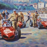 Formation Ferrari, Monaco 1961 painting by Simon Taylor