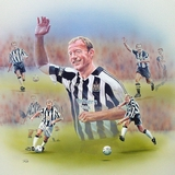Alan Shearer mixed media on paper, painting by Simon Taylor